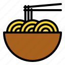 asian food, bowl, china, chopstick, egg noodles, pasta icon