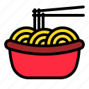 asian food, bowl, china, chopstick, egg noodles, noodles icon