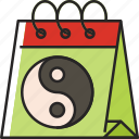 calendar, chinese new year, cny, lunar new year, chinese, yin yang, event icon