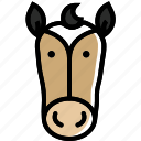 animal, chinese, face, horse, of, year, zodiac icon