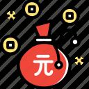 bag, chinese, money, new, year, yen icon