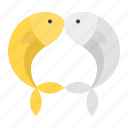 new year, chinese, couple, cny, gold, fish, silver icon