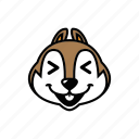 animal, chipmunk, face, head, smile icon