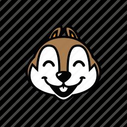 animal, chipmunk, face, head, smile icon