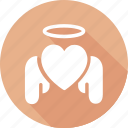 angle, christmas, heart, holiday, vacation, winter icon