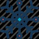 blue, circle, snow, red, snowflake icon