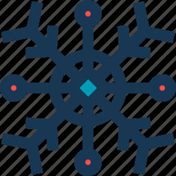 blue, circle, red, snow, snowflake icon