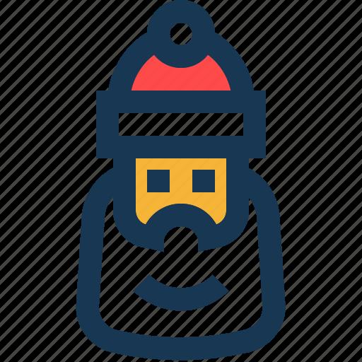 beard, hat, red, santa, white icon