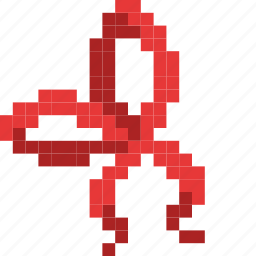 christmas, gift, present, red, ribbon, tie icon
