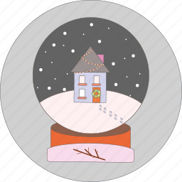 celebration, chriastmas, decoration, house, snow ball, snowflakes icon