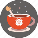 chocolate milk, christmas, cookies, cup, snowflakes icon