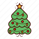christmas, christmas tree, decoration, holiday, star, tree, winter icon
