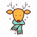 deer, fashion, hipster, holiday, reindeer, rudolf, scarf icon