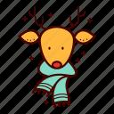 deer, fashion, hipster, holiday, reindeer, rudolf, scarf icon