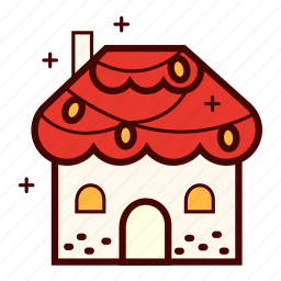 christmas, gingerbread, holiday, home, house, lights, winter icon