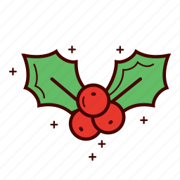 berry, christmas, decoration, holly, mistletoe, star, winter icon