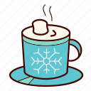 chocolate, christmas, coffee, hot, marshmallow, mug, snowflake icon