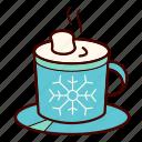 chocolate, christmas, coffee, hot, marshmallow, mug, snowflake icon