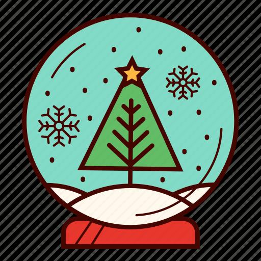 christmas, gift, snow, snowball, snowflake, snowglobe, tree icon