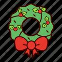 bow, christmas, decoration, holiday, holly, mistletoe, wreath