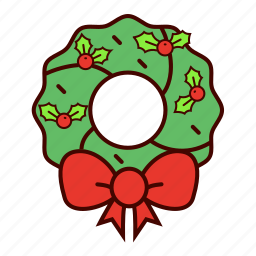 bow, christmas, decoration, holiday, holly, mistletoe, wreath icon
