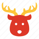 animal, christmas, deer, face, reindeer, santa, xmas icon