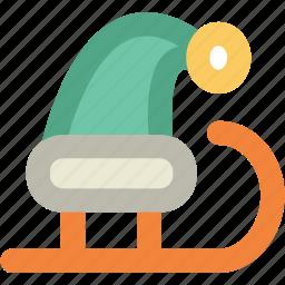 santa sleigh, sled, sledge, sleigh, snow sleigh, snow transport icon