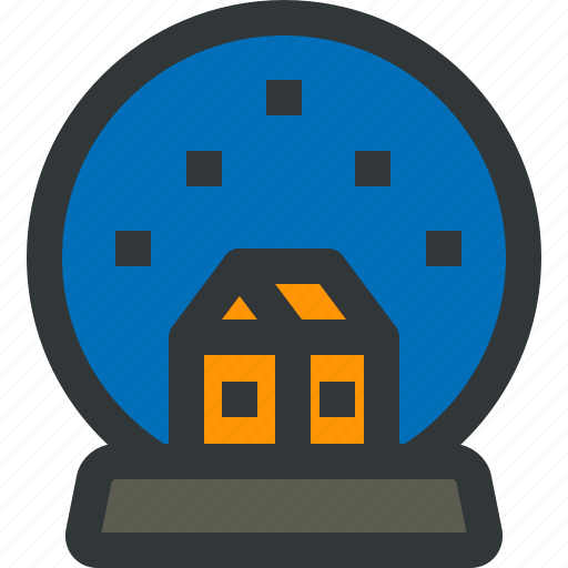 ball, blue, holidays, house, snowflake, winter icon