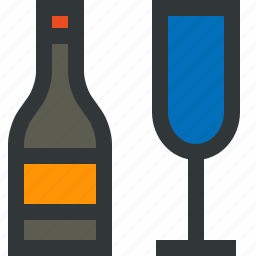 bottle, champagne, glass, wine icon