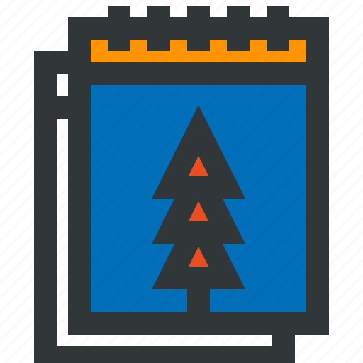 blue, calendar, date, holidays, red, tree icon
