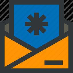blue, envelope, letter, message, snowflake, yellow icon