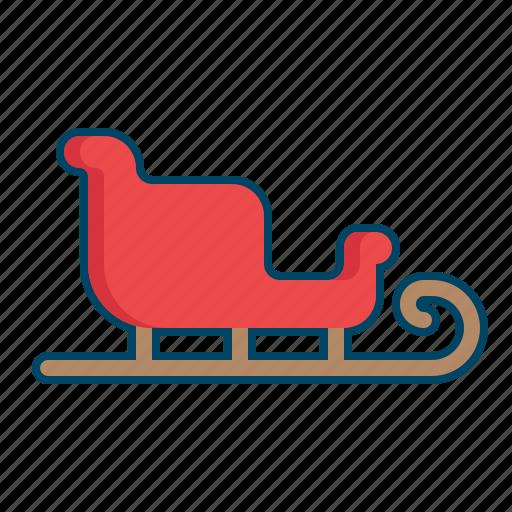 christmas, santa, sled, vehicle icon