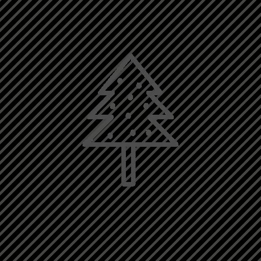 christmas, line, outline, tree icon