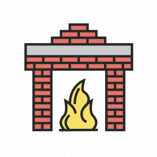 christmas, fireplace, home, winter icon