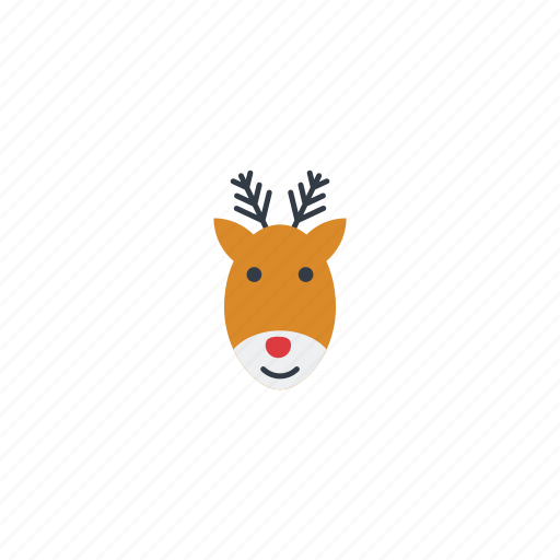 deer, elk, face, head, reindeer, rudolph, xmas icon