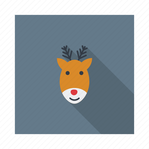 deer, elk, face, head, reindeer, rudolph, xmas icon