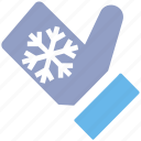 christmas, christmas glove, cold, glove, hand glove, snow flake icon
