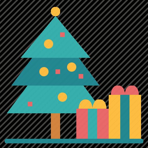 christmas, festival, gift, tree icon