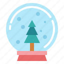 christmas, decoration, globe, snow icon