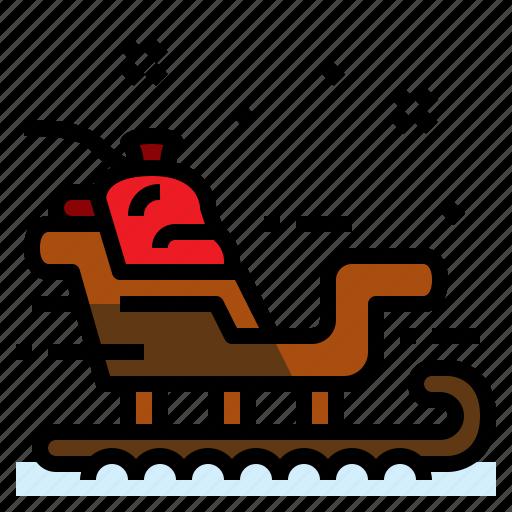 christmas, gift, sled, sleigh icon