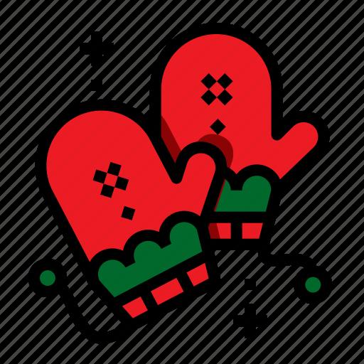 christmas, mitten, winter, xmas icon