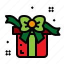 christmas, gift, present, ribbon icon
