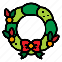 christmas, ribbon, wreath, xmas icon