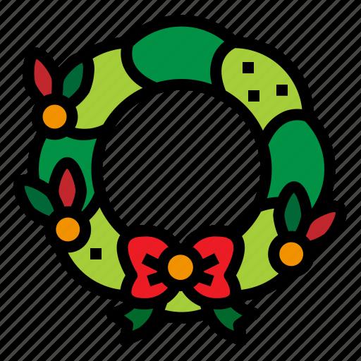 Christmas, ribbon, wreath, xmas icon - Download on Iconfinder