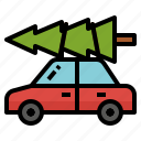 car, christmas, transport, tree, truck icon