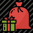 bag, christmas, gift, present, sack icon