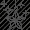 christmas, shine, star icon