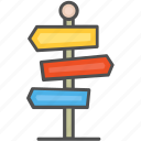 guidepost, pointer, signpost icon