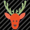 deer, head, reindeer icon
