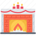 candle, christmas, fire, fireplace, light, new, year icon